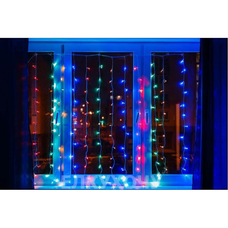 Гирлянда штора Уличная Занавес, curtain 2mх2m, 180 Led, цветная 180L - 189852