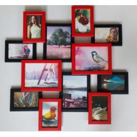 Деревянная мультирамка на 12 фото Путешествие маленькое, красно-черное