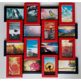 Деревянная мультирамка на 16 фото Классика 16, красно-черная
