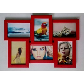Деревянная мультирамка на 6 фото Классика 6, красная