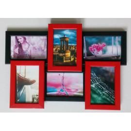 Деревянная мультирамка на 6 фото Классика 6, красно-черная