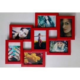 Деревянная мультирамка на 7 фото 7 Чудес, красная