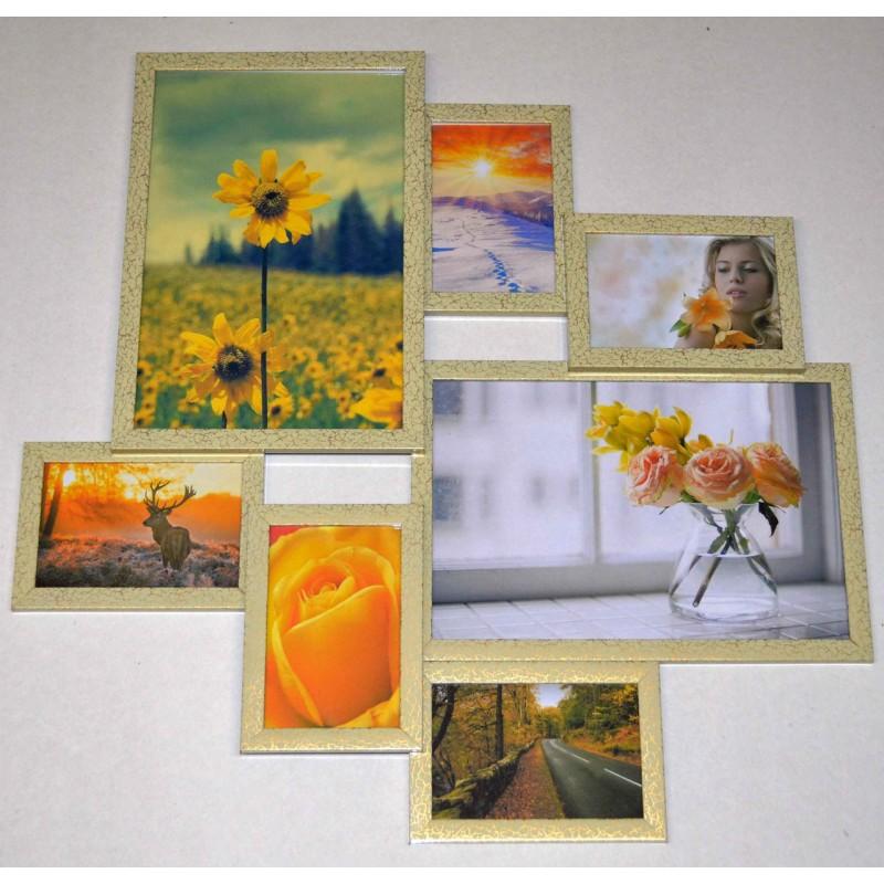 Пластиковая мультирамка на 7 фото Волна любви, леопардового цвета