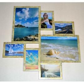Пластиковая мультирамка на 7 фото Волна Любви мрамор