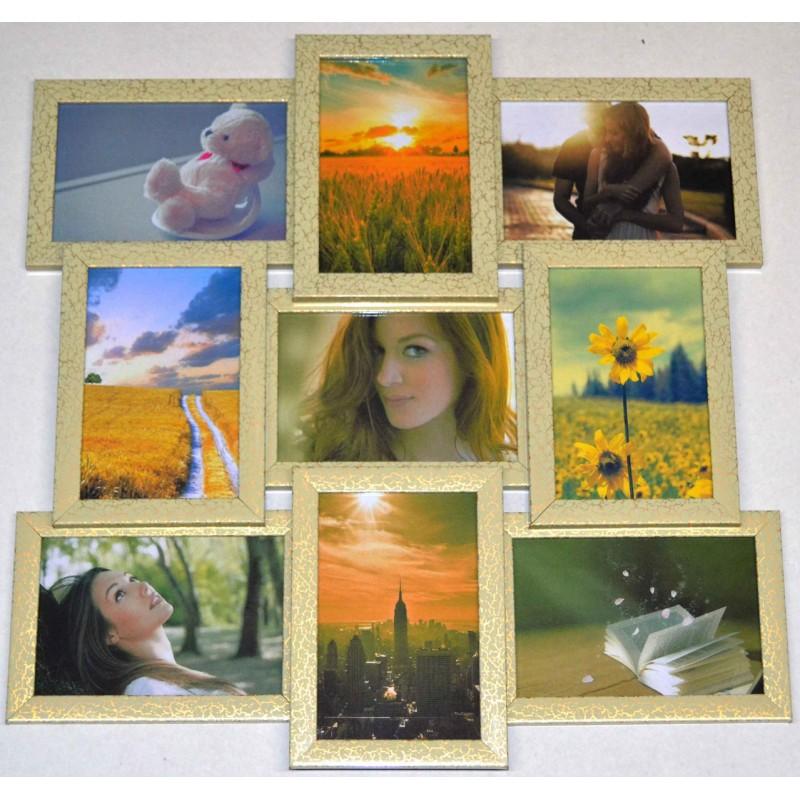 Пластиковая мультирамка на 9 фото Классика 9, леопардового цвета